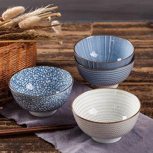 Beautiful Set of 4 Traditional Ceramic Japanese Style Dinner Bowls