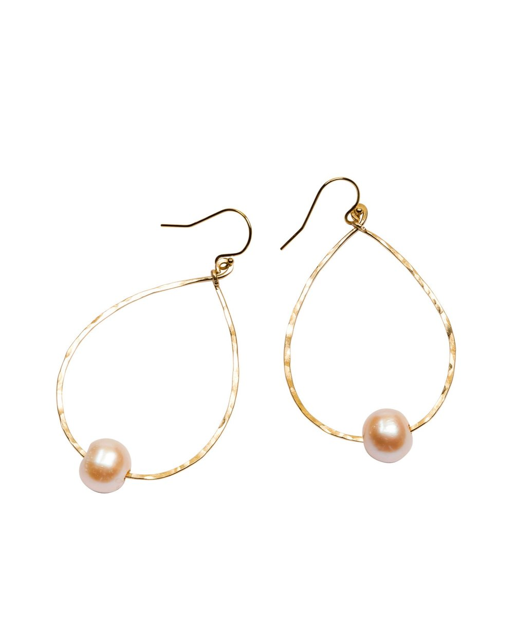 Pink-Peach Pearl Harbor Teardrop earrings