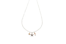Load image into Gallery viewer, Petite Starfish, Coral + Puka Shell Charm necklace