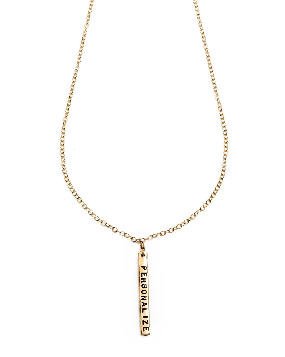 Customizable Double-Sided Vertical Zayit Bar necklace