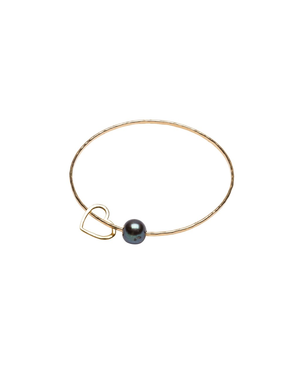 Dark Pearl Love Heart bangle