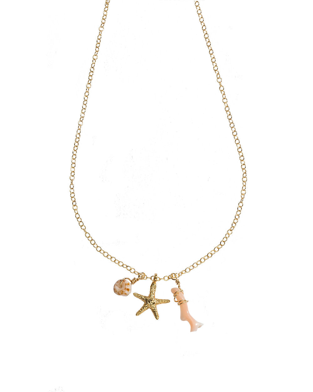 Petite Starfish, Coral + Puka Shell Charm necklace