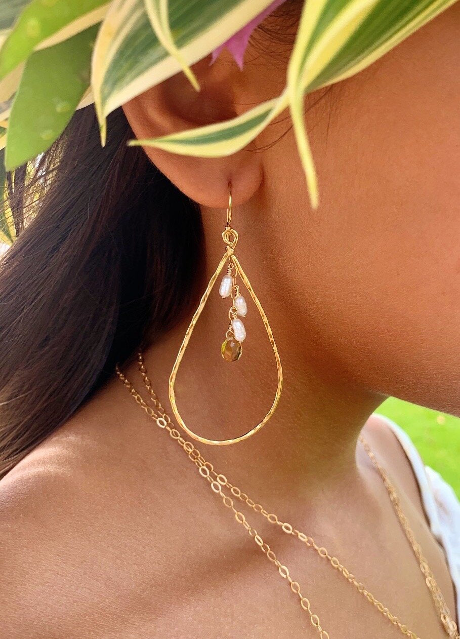 Amber Large Teardrop earrings