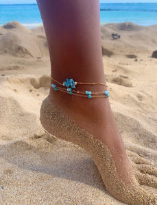 Dainty Blue Coral+Pearl anklet