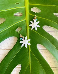 Tiare Flower Pearl drop earrings