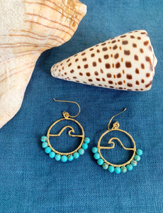 Turquoise Beaded Petite Peahi Wave hoop earrings