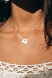 Personalize Single Initial Disc necklace