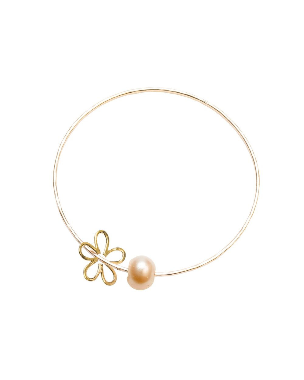Pink-Peach Pearl Elise Flower bangle