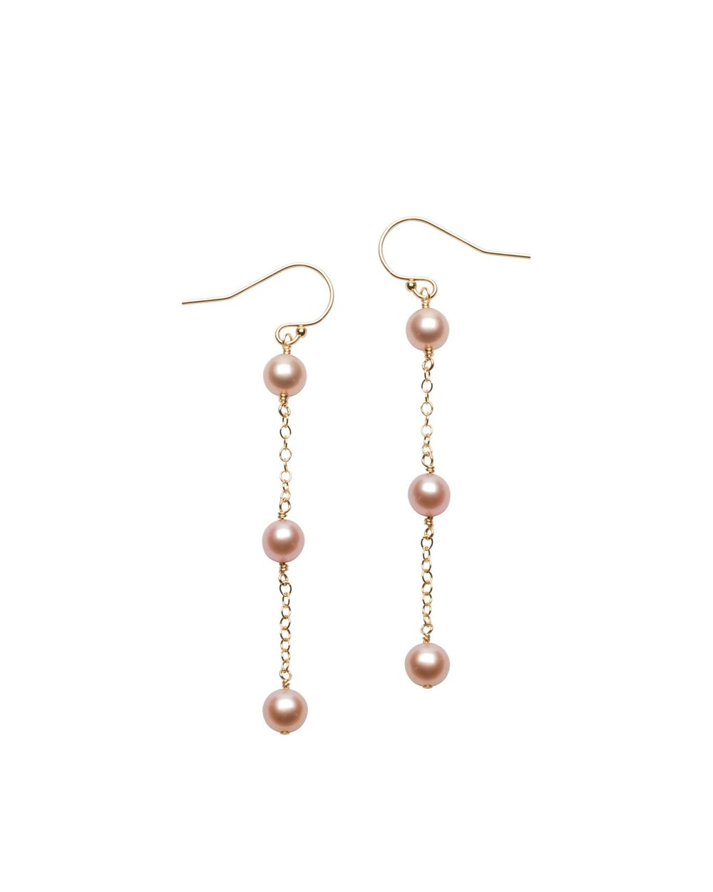 Pink Pearl Kelsey Chain Drop earrings