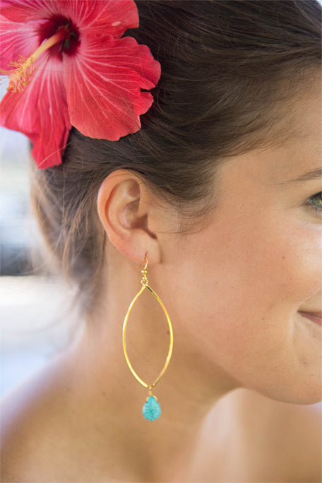 Turquoise Teardrop Marquise earrings