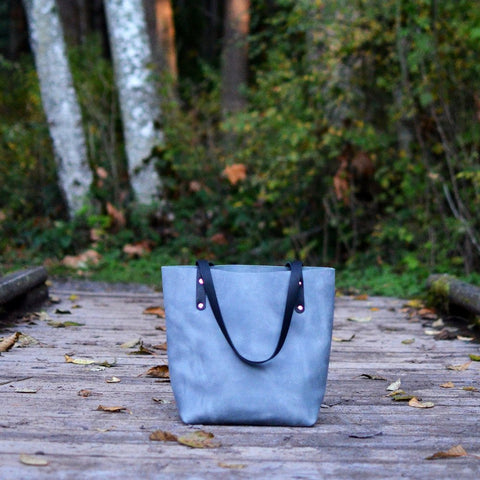 grey leather tote