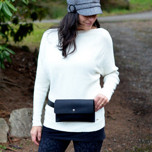 Hipster Bag (Fanny Pack + Clutch) - Black Leather