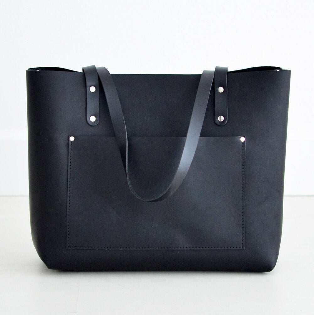 Large Classic Tote - Black Leather