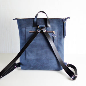 Minimalist Backpack - Navy Blue Leather