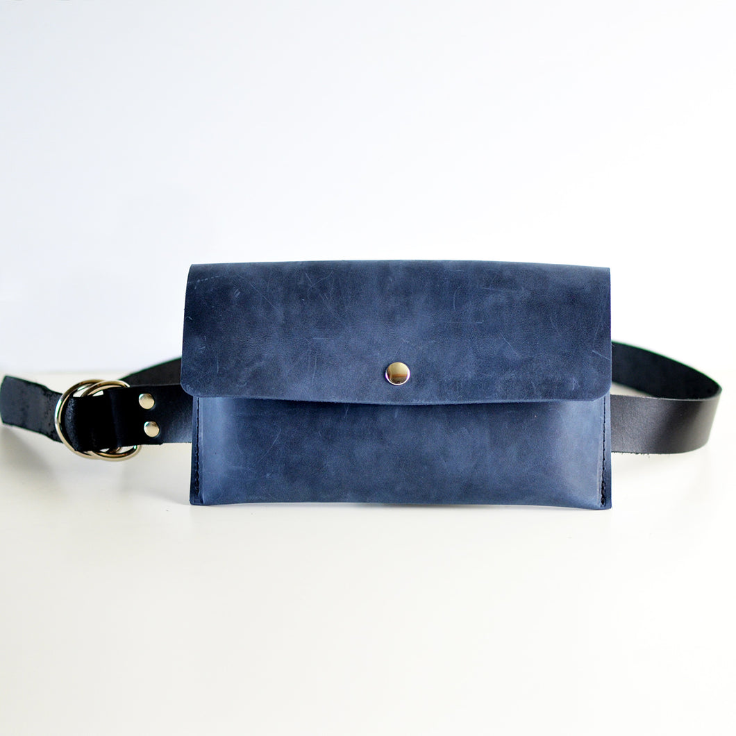 Hipster Bag (Fanny Pack + Clutch) - Navy Blue Leather