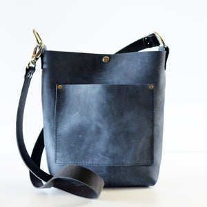 Small Convertible Crossbody - Navy Blue Leather