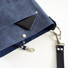 Load image into Gallery viewer, Small Convertible Crossbody - Navy Blue Leather