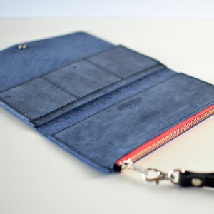 Wristlet Wallet Clutch - Navy Blue Leather