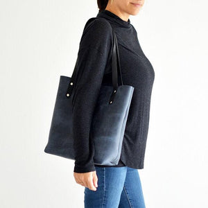 Medium Classic Tote - Navy Blue Leather