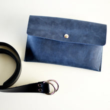 Load image into Gallery viewer, Hipster Bag (Fanny Pack + Clutch) - Navy Blue Leather