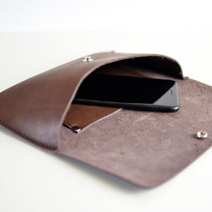 Hipster Bag (Fanny Pack + Clutch) - Chocolate Brown Leather