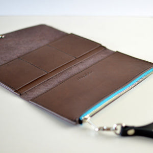 Wristlet Wallet Clutch - Chocolate Brown Leather