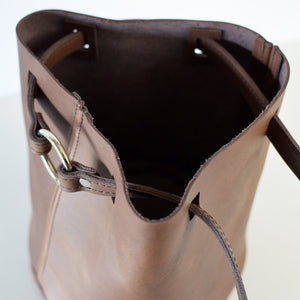 Boho Bucket Bag (crossbody bag) - Brown Leather