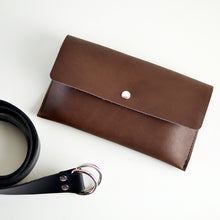 Load image into Gallery viewer, Hipster Bag (Fanny Pack + Clutch) - Chocolate Brown Leather