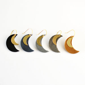 Crescent Moon Leather Earrings