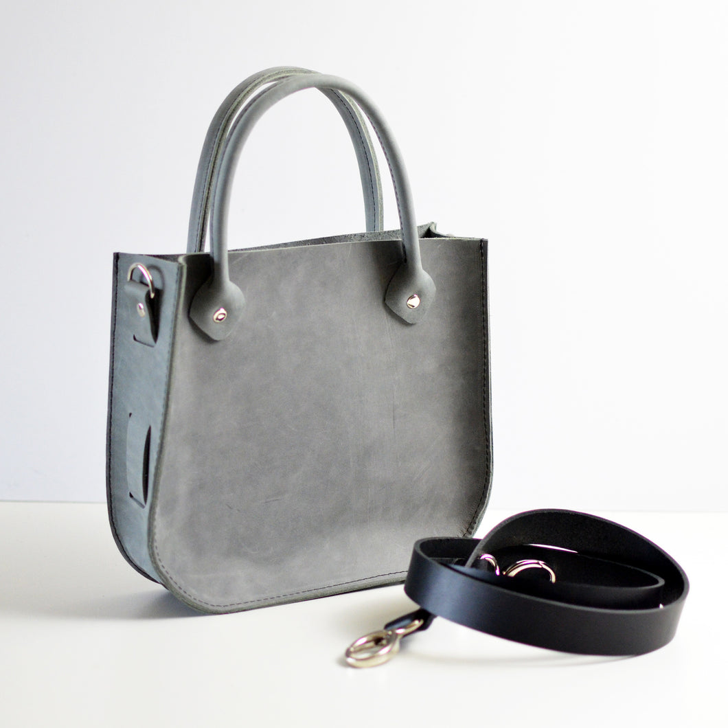 Handbag + Removable Strap - Grey Leather