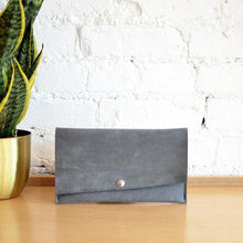 Load image into Gallery viewer, Wallet Clutch - Grey Leather