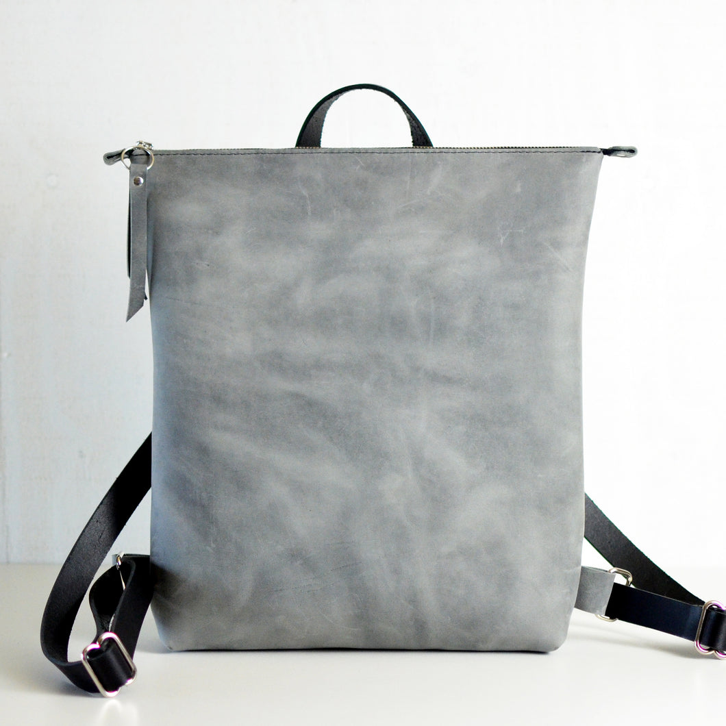 Minimalist Backpack - Grey Leather