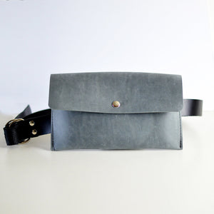 Hipster Bag (Fanny Pack + Clutch) - Grey Leather
