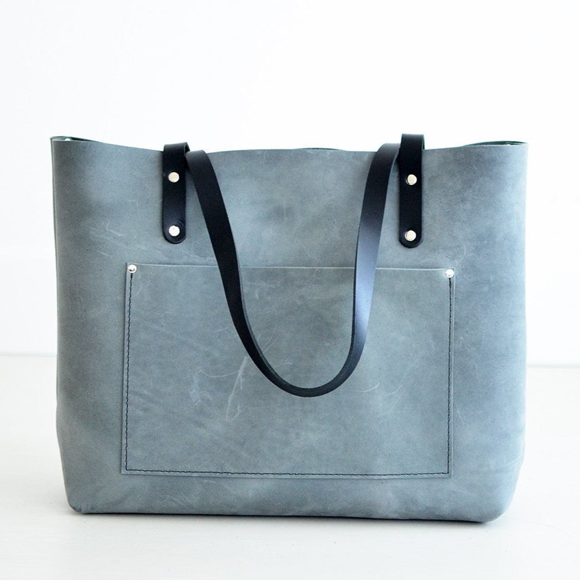 Large Classic Tote - Grey Leather