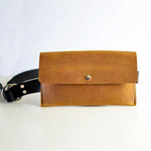 Hipster Bag (Fanny Pack + Clutch) - Honey Brown Leather