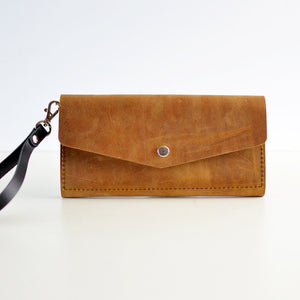 Wristlet Wallet Clutch - Honey Leather