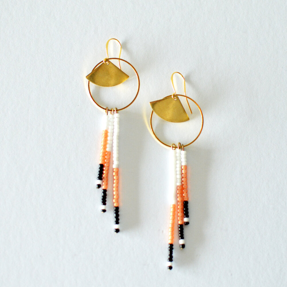 Luna Beaded Earrings - grapefruit