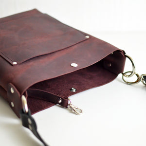 Small Convertible Crossbody - Merlot Leather