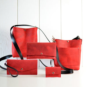 Wallet Clutch - Red Leather