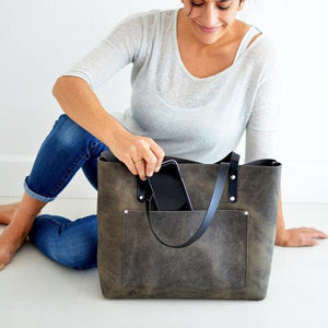 Large Classic Tote - Slate Leather