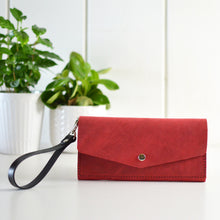 Load image into Gallery viewer, Wristlet Wallet Clutch - Red Leather