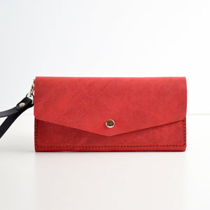 Wristlet Wallet Clutch - Red Leather