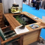 Gaden furniture with a fish pond inside