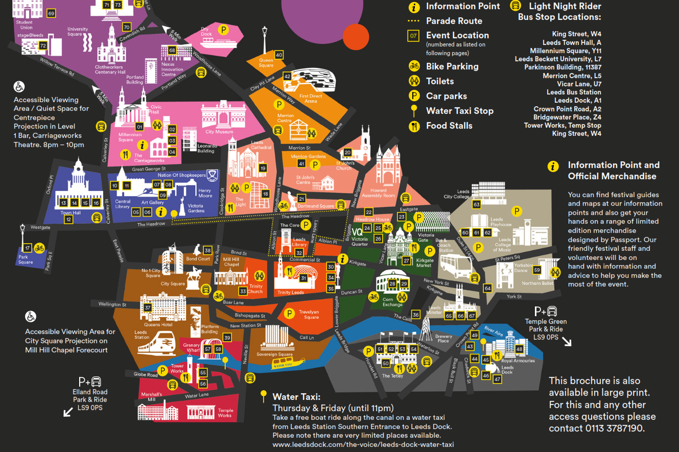 Leeds Light Festival Map 2019