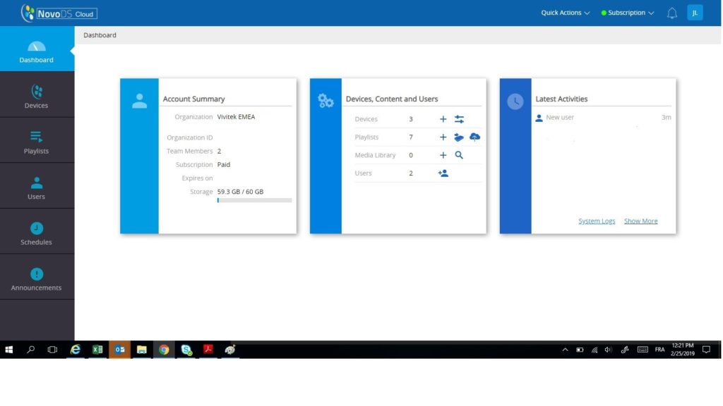 NovoDS new dashboard example