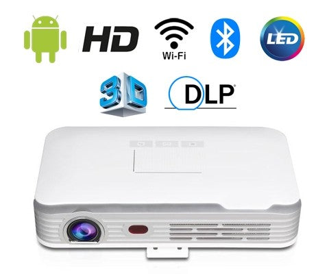 Pico Genie M550 Plus 2.0 LED Portable Projector (650 Ansi Lumens, Shorter Throw, Android OS, HD)