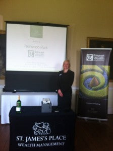 Winner Lavinia Pavis pictured about with the Elmo Boxi MP-350 projector at a recent Telegraph seminar