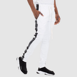 Men Leather Side Stripe Drawstring Pants