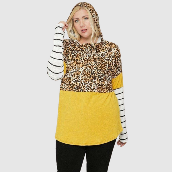 Plus Color Block Leopard Zipper Hoodie