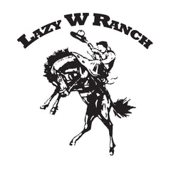 Lazy W Ranch logo with a person riding a bucking horse